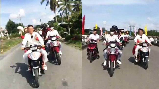 Vĩnh Long: Chú rể tổ chức rước vợ bằng 15 xe máy chạy dàn hàng ngang, nẹt pô, rú ga - Ảnh 1.