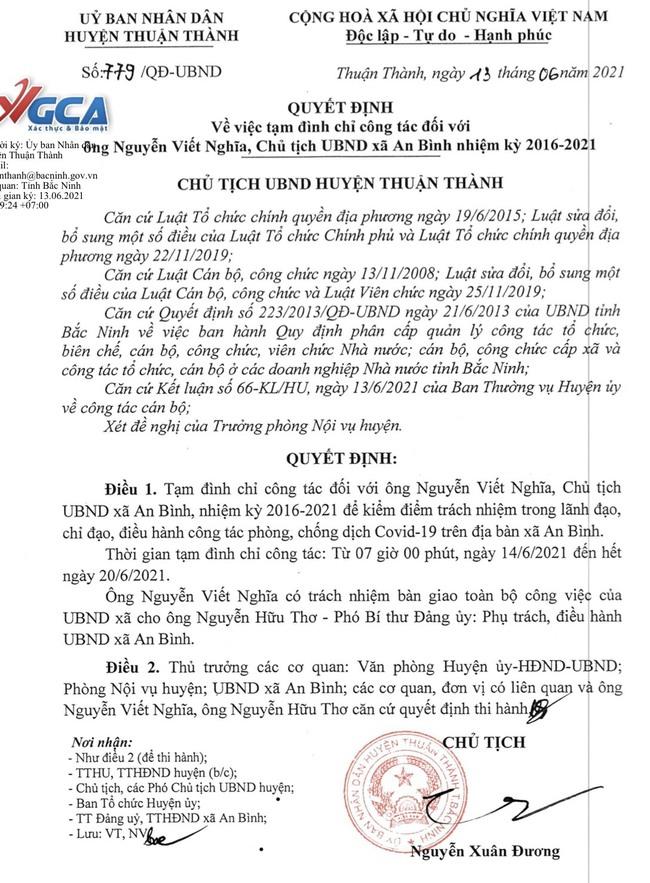 """Chủ tịch xã An Bình, có phó chủ tịch xã ký giấy cho dân """"đi chợ"""" trong vùng dịch bị đình chỉ công tác  - Ảnh 2."""