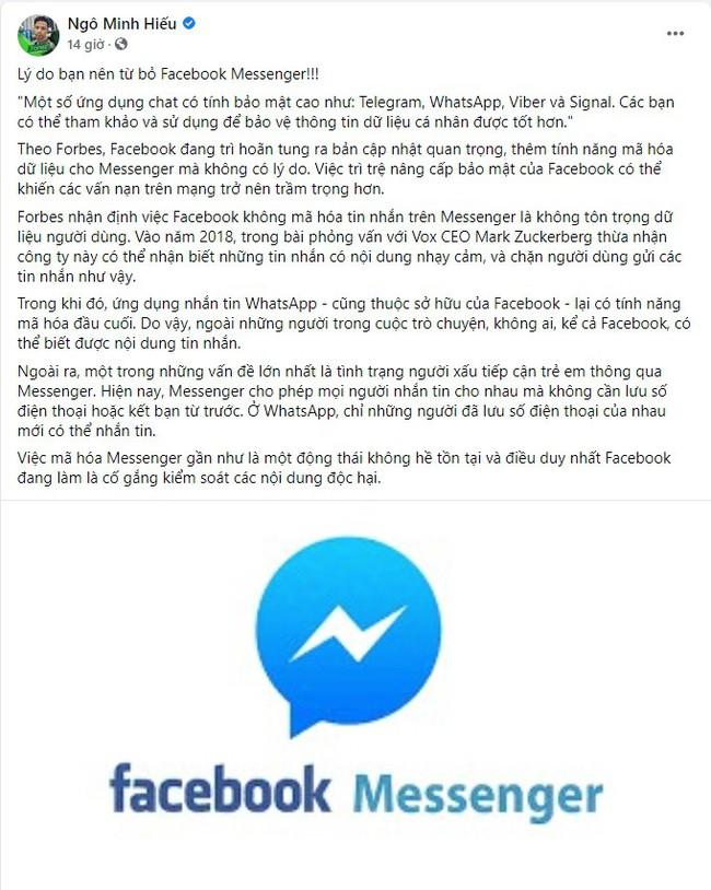 Hiếu PC nói điều khiến người dùng Facebook Messenger sững sờ