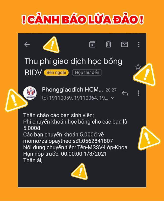 Cảnh báo email giả mạo ĐH Sư phạm Kỹ thuật TP.HCM lừa đảo sinh viên chuyển tiền  - Ảnh 1.