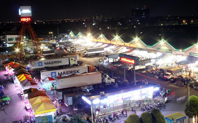 Chợ Đầu mối nông sản Thủ Đức sẽ tạm dừng các hoạt động tập kết giao hàng, mua bán trực tiếp tại Chợ kể từ 8 giờ ngày 7/7. (Ảnh: Nguyên Vỹ)