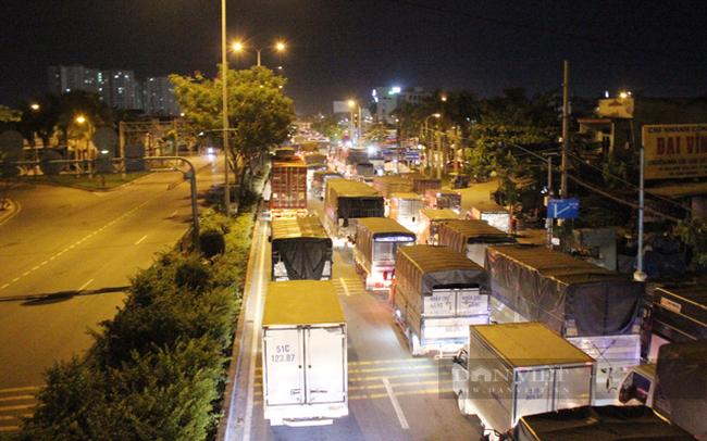 Rất đông phương tiện đổ về cổng chính chợ Đầu mối nông sản Thủ Đức khiến kẹt một đoạn dài trên đường Quốc lộ 1A. (Ảnh: Nguyên Vỹ)