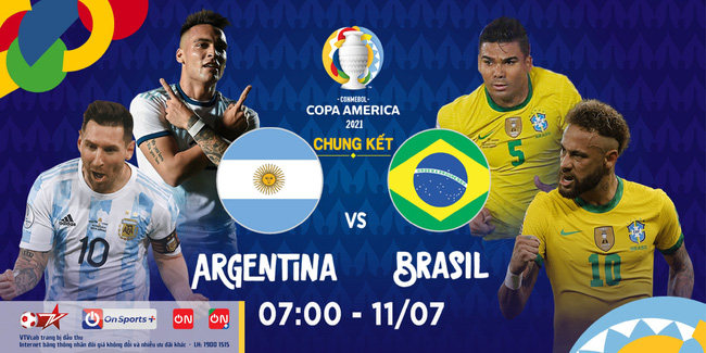 Lịch phát sóng trực tiếp chung kết Copa America 2021: Brazil vs Argentina