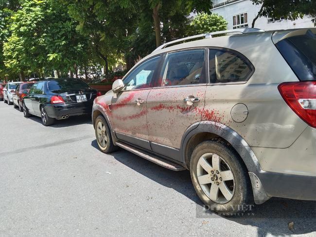 Hình ảnh hàng loạt xe ô tô bị tạt sơn ở Hà Nội - Ảnh 2.
