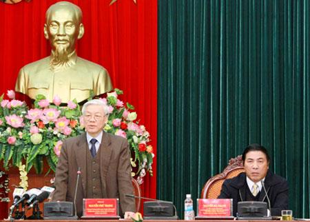 Tổng Bí thư Nguyễn Phú Trọng phát biểu kết luận buổi làm việc. Ảnh: Website Đảng Cộng sản