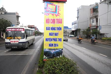Các panô,   áp- pích tuyên truyền cho Hội chọi trâu NTNN- Phúc Thọ 2014 đã được treo ở thị trấn Phúc Thọ (Hà Nội).