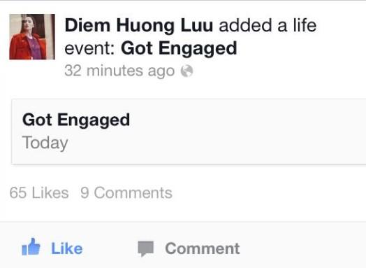 Diễm Hương cập nhật trạng thái đã đính hôn.