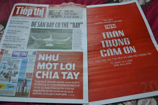 Báo Sài Gòn Tiếp Thị ra số cuối cùng với giấy phép cũ trước khi chuẩn bị ra bộ mới vào ngày 3.3 tới.