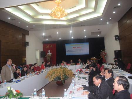 Chủ tịch BCH T.Ư Hội NDVN Nguyễn Quốc Cường phát biểu tại hội nghị.