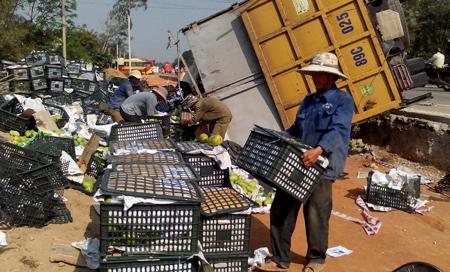 Người dân phụ bác tài thu gom xoài bị lật vào sáng ngày 2.3 tại Quảng Nam.