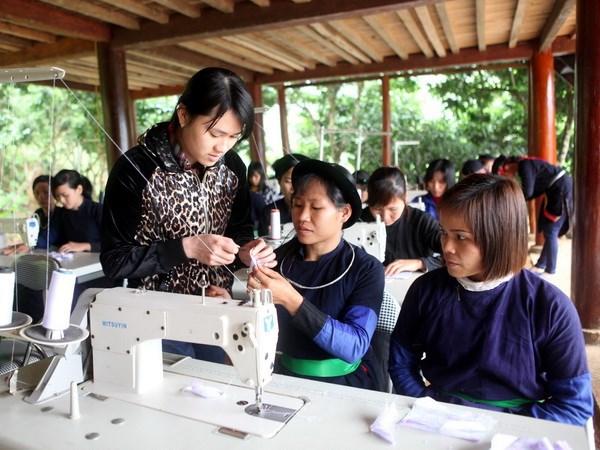 Lớp dạy nghề may công nghiệp cho phụ nữ dân tộc Dao, Tày ở Tuyên Quang. (Nguồn ảnh: TTXVN)
