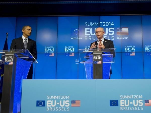 Tổng thống Mỹ Obama dự Hội nghị thượng đỉnh Mỹ-Liên minh châu Âu. (Nguồn: AFP/TTXVN)