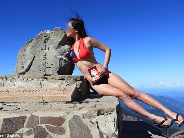 Cô gái Đài Loan nổi tiếng mặc bikini leo núi bị chết cóng