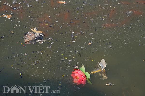 Tuy nhiên, lượng người cố tình thả rác gây ô nhiễm vẫn rất lớn. Mặt hồ Thủ Lệ, quận Ba Đình, đầy ắp rác thải: tro vàng mã, tàn hương...