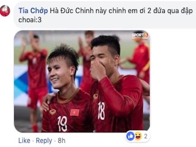 """Đức Chinh vào Facebook Quang Hải tự khen """"đẹp trai"""" và phản ứng của dân mạng"""