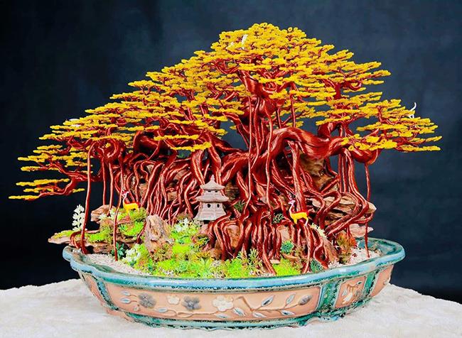 """sieu cay"" bonsai tu day dong, nhom, dep nhu cay that, gia bac trieu hinh anh 13"