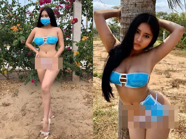 """""""Can Lộ Lộ bản Việt"""" dùng khẩu trang làm bikini giữa đại dịch Corona gây phẫn nộ"""