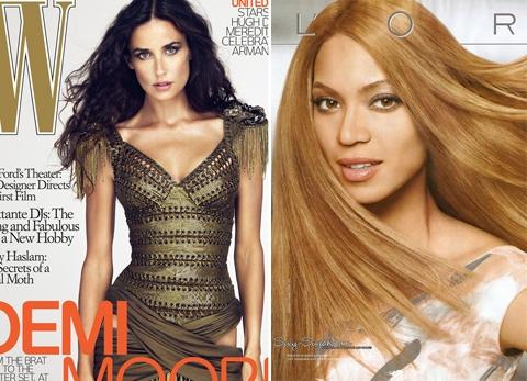 Hai ngôi sao Demi Moore và Beyonce đều từng trở thành nạn nhân của photoshop