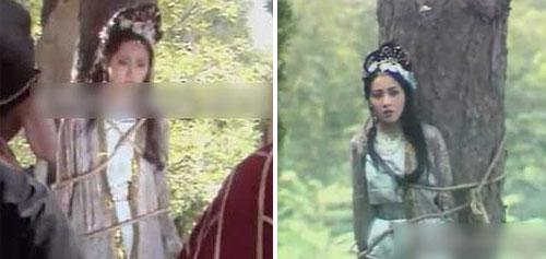 Yêu quái giả cô gái bị trói trong rừng chờ sư phụ tới cứu. Điều đáng chú ý là cô bị trói ở hai gốc cây... khác nhau.
