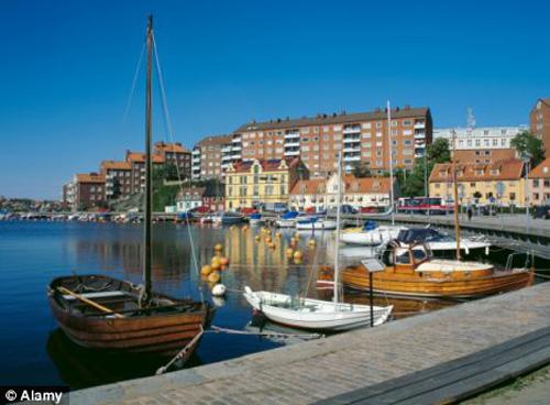 Thành phố Karlskrona, miền nam Thụy Điển - nơi người đàn ông đã chết vì một tai nạn hi hữu