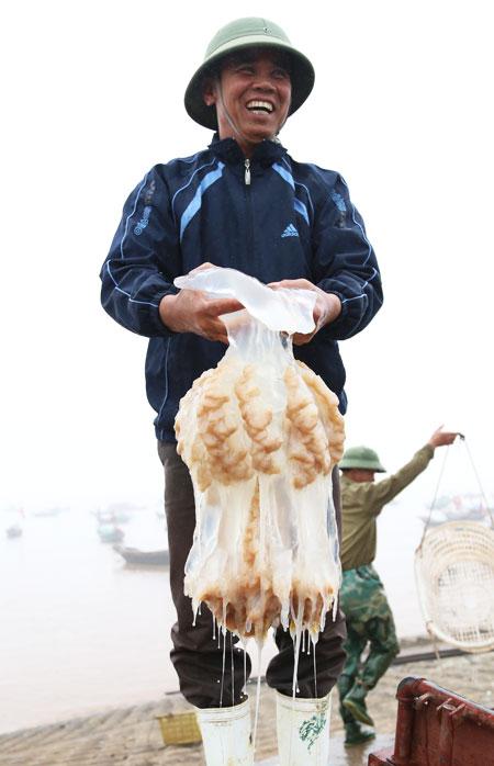 Một thương lái mừng rỡ khi mua được mẻ sứa tươi ngon.