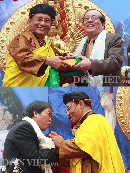 Đức Pháp Vương cùng nhà văn Hữu Thỉnh và nhà văn Nguyễn Quang Thiều của Hội Nhà văn Việt Nam.