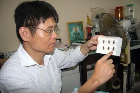 PGS- TS Trương Xuân Lam và tiêu bản bọ xít hút máu mà ông tìm được năm 2010.