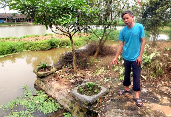 """Không biết từ bao giờ, ở gần """"giếng bàn chân"""" khổng lồ có hai chậu đá hình vuông để người dân làm nơi rửa rau, vo gạo, giặt giũ. Giờ để trồng hoa."""