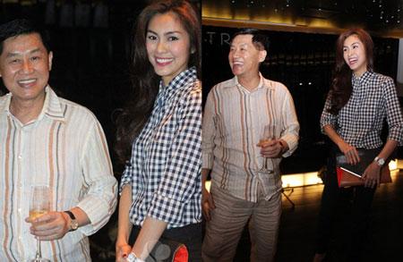 Hà Tăng và bố chồng, ông Johnathan Hạnh Nguyễn.