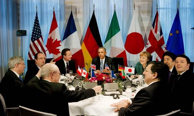 Nhóm G-7 nhất trí áp đặt các biện pháp trừng phạt bổ sung với Nga liên quan tới cuộc khủng hoảng Ukraine. (Ảnh: AFP/TTXVN)