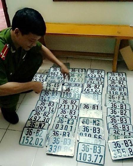 Lực lượng công an Thanh Hóa đang kiểm tra số BKS xe máy mà ổ nhóm này đã trộm cắp.