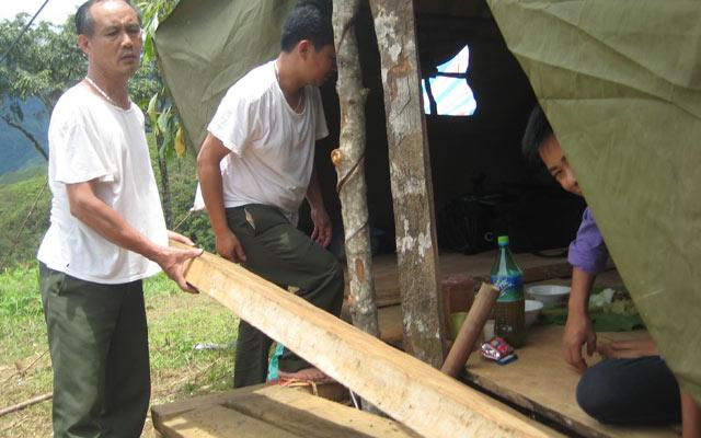 Kiểm lâm huyện Phù Yên, Sơn La tổ chức truy quét, thu hồi gỗ lậu  do lâm tặc phá rừng.