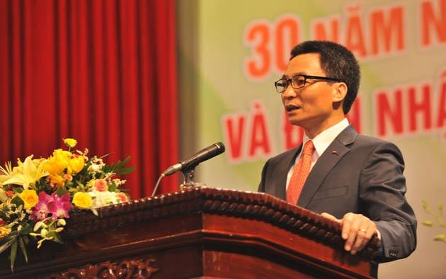 Phó Thủ tướngVũ Đức Đam  phát biểu chỉ đạo tại buổi Lễ kỷ niệm 30 năm ngày thành lập Báo NTNN.