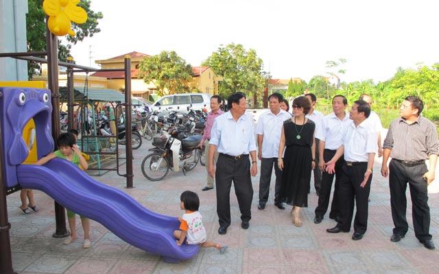 Mô hình trường mầm non đạt chuẩn tại xã Yên Dương, huyện Yên Lạc.