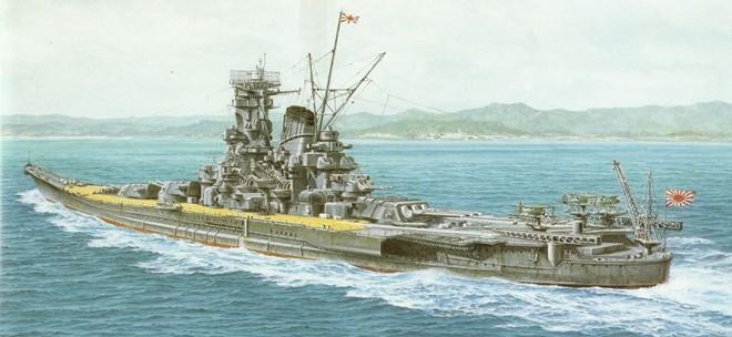 Một bức tranh về thiết giáp hạm Musashi của đế quốc Nhật Bản. Ảnh: blogspot.com