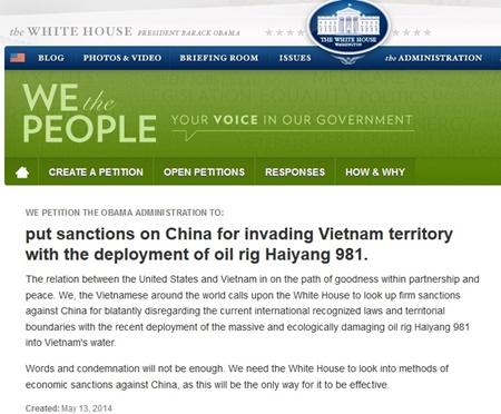 Kiến nghị trừng phạt Trung Quốc vì đặt giàn khoan trái phép trong vùng biển Việt Nam trên trang web của Nhà Trắng
