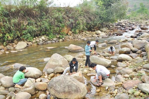 """Mùa nước cạn, nhiều nhóm trẻ ở Nậm Pung thích thú rủ nhau ra suối săn""""rết nước""""."""