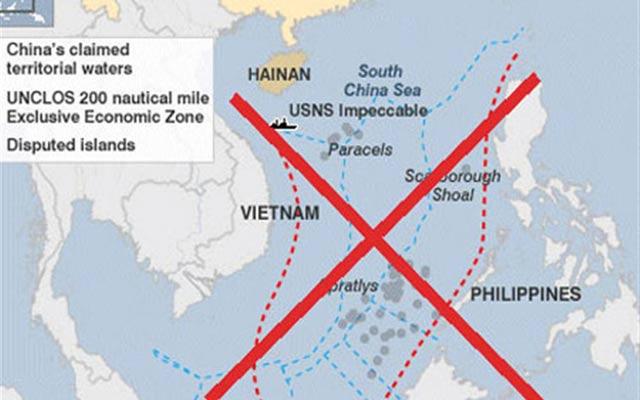 Bản đồ đường lưỡi bò hết sức phi lý của Trung Quốc.