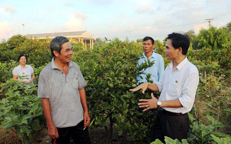 Ông Trần Huy Oánh - Chánh văn phòng Điều phối nông thôn mới tỉnh (bên phải) kiểm tra các mô hình vườn mẫu trên địa bàn tỉnh.