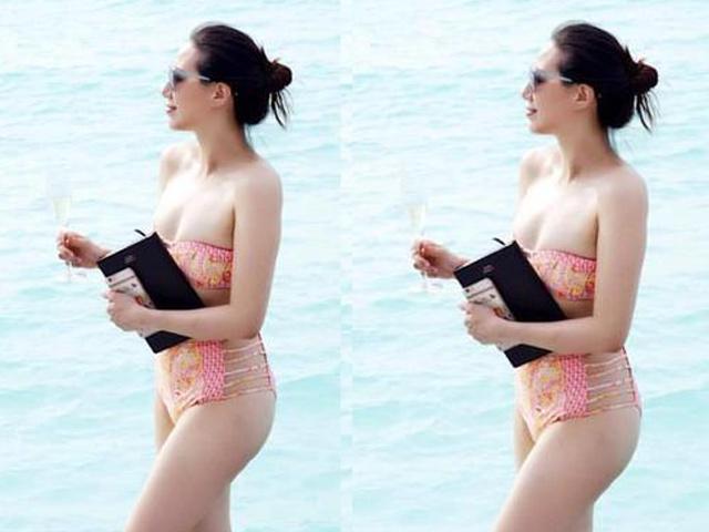 Cả bãi biển phải nhìn khi thấy vợ hoa hậu của Chân Tử Đan mặc bikini