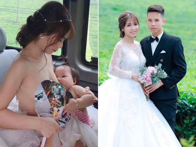 Cô dâu vén váy cho con bú trên xe hoa gây xôn xao dân mạng