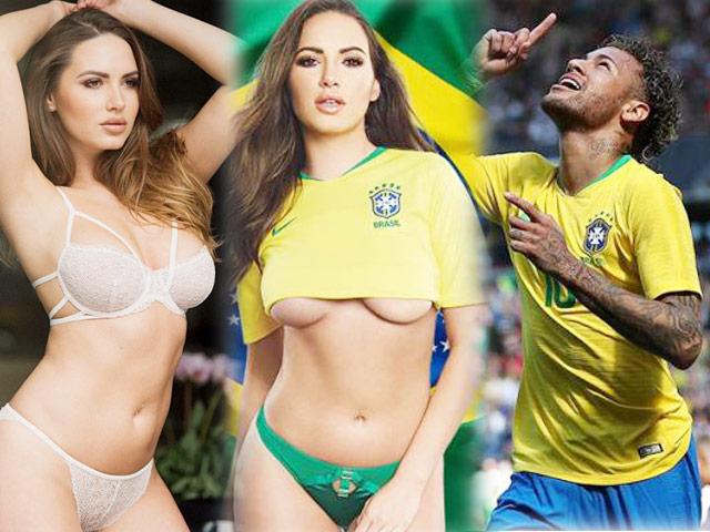 Cô gái mặc áo 5cm để cổ vũ Neymar là người mẫu 27 tuổi quê Latvia