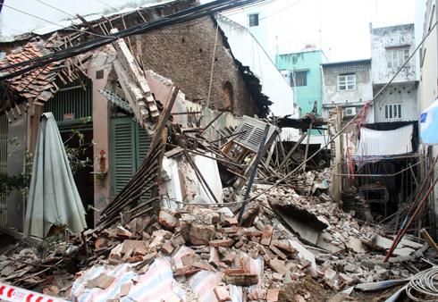 Căn nhà bị sập đổ hoàn toàn. Ảnh: An Nhơn