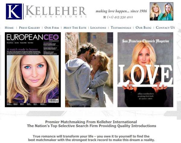 Website bắt mắt của công ty môi giới hôn nhân Kelleher & Associates.