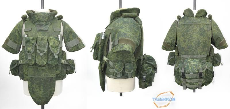 8.Áo giáp 6B43 do công ty Tekhincom sản xuất với cấu hình đầy đủ cả giáp vai, hạ bộ cùng một số túi đựng trang bị. Đây là mẫu áo được sử dụng trong thử nghiệm bộ trang bị Ratnik.