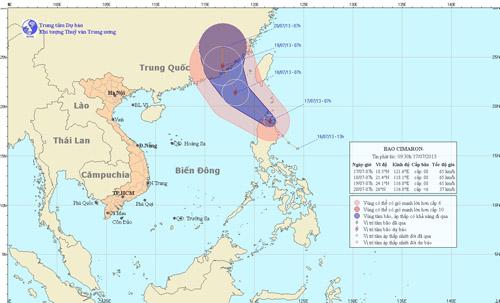Dự báo đường đi của bão (Trung tâm Dự báo KTTVTW)