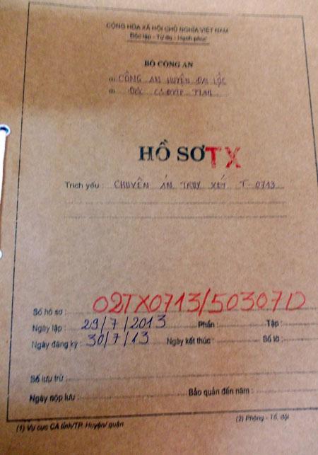 Hồ sơ chuyên án của nhóm đối tượng nhí trộm phát két sắt Trung tâm bảo trợ xã hội huyện Đại Lộc trộm 100 triệu đồng - ảnh Minh An