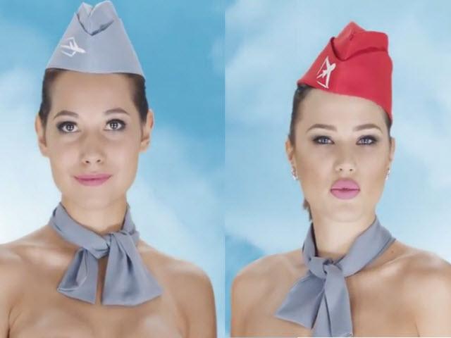 Tiếp viên hàng không Kazakhstan khỏa thân quảng cáo gây sốc