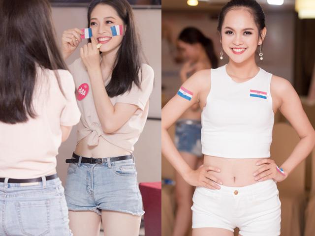 Người đẹp Hoa hậu Việt Nam mặc quần siêu ngắn mừng Pháp vô địch