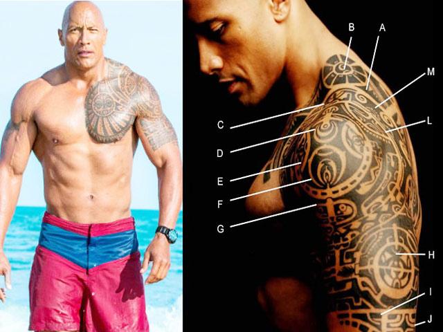 """Bí mật hình xăm tuyệt vời của """"nam thần cơ bắp"""" The Rock"""